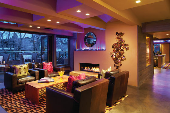 DancingBear Aspen Interior Fireplace Evening